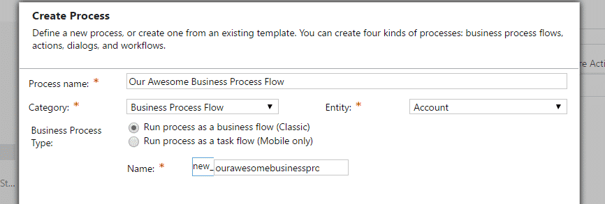 Dynamics 365 Create business process flow