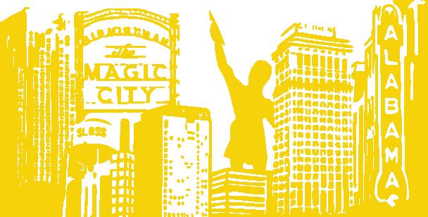 Line Drawing Birmingham Skyline Yellow